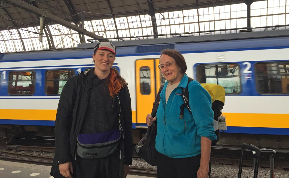 Me and Mary Shaw on the platform at Amsterdam Centraal